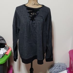 Size 3 black maurices sweater with lace accent